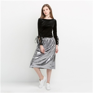 Fashion Joker lighter metal color surface creases and leisure in Europe and America a-line skirt