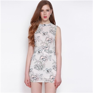 Commuter OL temperament flower print skirt high waist slim dress