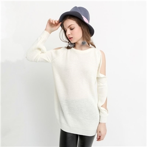European and American fashion street hollow out a solid color crewneck pullover sweater