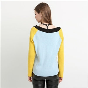 Noisy May Deep V Colourblock Knit Jumper