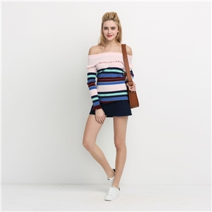 European and American fashion sexy contrast color striped strapless small lotus leaf knitting sweater