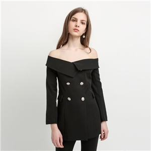 European and American fashion a sexy strapless neck and handsome personality off the shoulder jacket