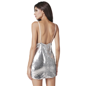 Sexy backless sequins silver dress