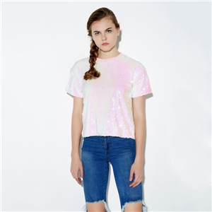 Pink Shiny Sequin Loose Crew Neck T-shirt