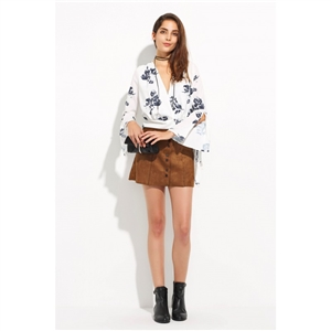 [Free People selling TOP10] Europe and sexy deep v abstract print blouse with a flared sleeve t-shirt