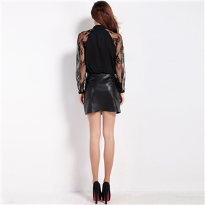 Sexy see through lace stitching sleeve binding collar versatile long sleeve shirts women