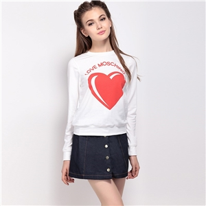 European and American fashion personality loose charm heart-shaped pattern long sleeve t-shirt