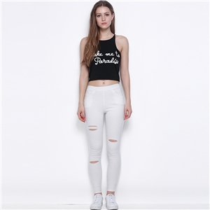 European fashion letters printed blouse Joker slim cropped Camisole