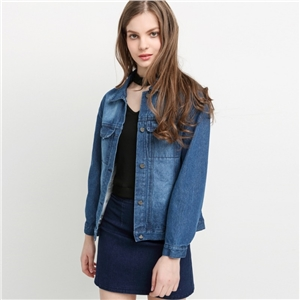 European and American retro slim slim single-breasted denim jacket