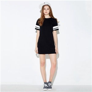 Europe and College color baseball stripe crew neck short sleeves dresses