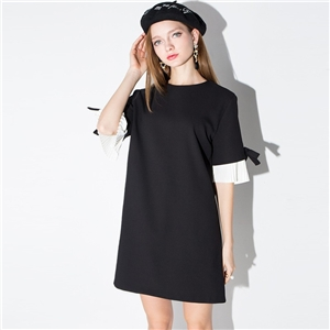 Europe folded bow in a dress style sleeves dress