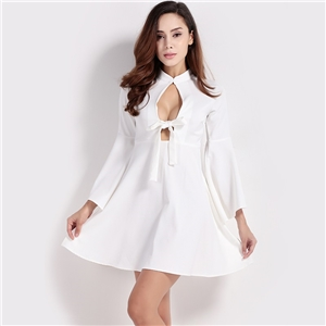 Europe sexy low chest hollows out the bow tie elegant flies flying sleeves of a dress