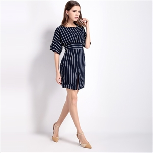 Europe sexy front slit at back of bow slim slimming trumpet sleeves dress