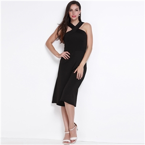 OL temperament crossover strapless fashion solid high waist wide leg pants jumpsuit