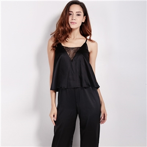 Europe and back v-neck sexy v neck lace stitching vertical pleats at the waist strap nobility jumpsuit