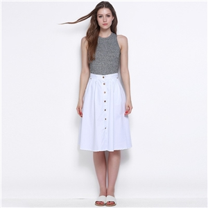 Sweet art fan single a-line skirt Joker white high waist skirts