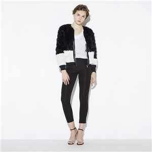 [Good selection of] Europe and lavish color rib collar faux fur coat jacket