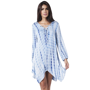 V-Neck Loose Banded Long Sleeve Irregular Dress
