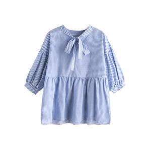 Blouse V Neck Bow Solid Stripe Puff Sleeve Sweet Top