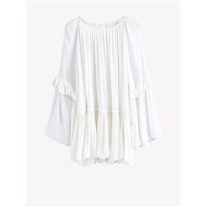 Blouse Flare Sleeve O Neck White Blouse