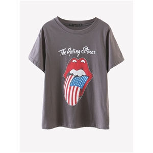 T Shirt Letter Cartoon Pattern Short Sleeve T Shirt