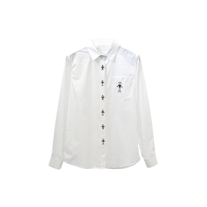Shirt Turn Down Collar Long Sleeve Embroidery Loose Casual Top