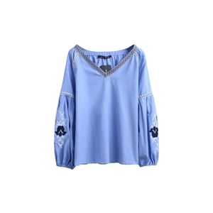 Blouse V Neck Long Sleeve Embroidery Patchwork Fashion Loose Top