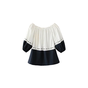 Blouse Sexy Slash Neck Embroidery Colorblock Letter Top