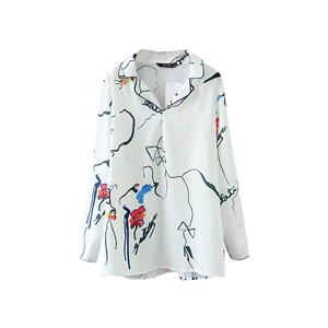Blouse Floral Long Sleeve Turn Down Collar Top