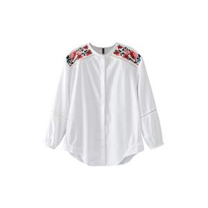 Shirt O Neck Long Sleeve Embroidery Hollow Out Casual Comfy Top