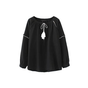 Blouse Solid Simple High Low O Neck Long Sleeve Casual Top