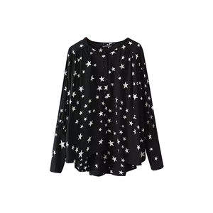 Blouse Star O Neck Sweet High Low Button Top