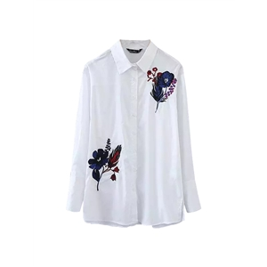 Shirt Embroidery Floral Long Sleeve Turn Down Collar Shirt