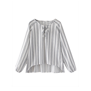 Blouse Stripe Pattern Long Sleeve Ethnic Top