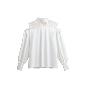 Blouse Stamd Collar Long Sleeve Lace Patched Hollow Out Solid Top