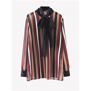 Shirt Colorful Stripe Self Bow Long Sleeve Shirt