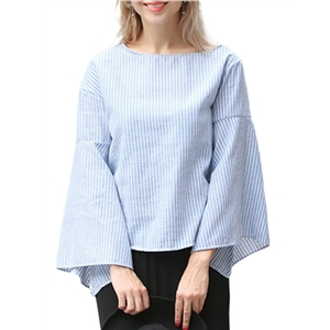 T Shirt Casual Loose Flare Striped Zipper Sleeve Sweet Top