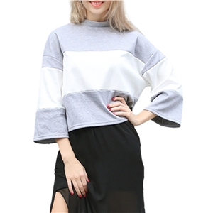 T-shirt O Neck Colorblock Flare Sleeve Sweet Top