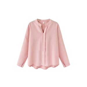 Shirt V Neck Long Sleeve Solid Color Brief Design Casual Loose Top