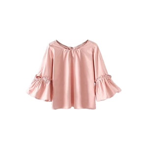 Blouse Loose Solid O Neck Sweet Flared Sleeve Hollow Out Top