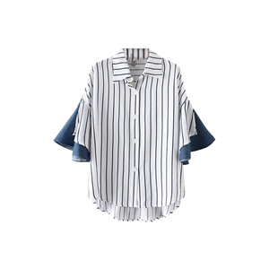 Shirt Turn Down Collar Flare Sleeve High Low Patchwork Striped Loose Top