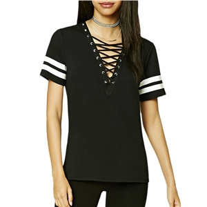 T Shirt V Neck Lace Up Short Sleeve Striped Patchwork Sexy Top