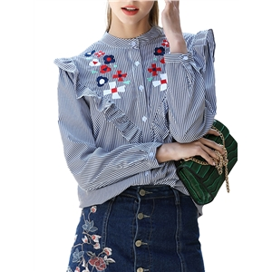 Shirt Ruffles Patch Floral Embroidery Stripe Shirt