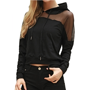 Hoodie Long Sleeve Hooded Gauze Patched Hollow Out Solid Sexy Hoodie