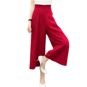 Pants Solid Color High Waist Cropped Wide Leg Pants