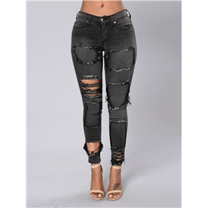 Jeans BF Style Skinny Distressed Solid Sexy Pants