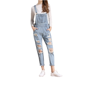 Suspender Jeans Hole Decoration Casual Denim Overalls