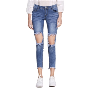 Jeans Hole Decoration Solid Color Casual Cropped Jeans