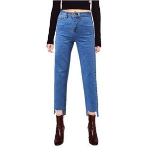 Jeans Solid Color High Waist Irregular Cut Casual Jeans