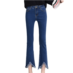 Jeans High Waist Solid Color Cropped Flared Jeans